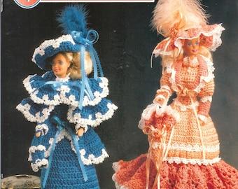 Vintage 1993, Annie's Attic #87V26, Victorian Fashion Dolls,  Crochet Instruction Booklet  for 11 1/2 inch Fashion Doll, Such as Barbie