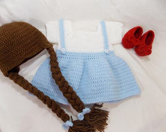 Dorothy Wizard of Oz Inspired Costume/Crochet Dorothy Dress/Wizard of Oz Costume/Wizard of Oz Photo Prop Newborn to 18 Months- MADE TO ORDER