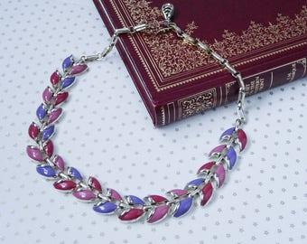 Vintage Gold Tone Purple Pink Enamel Link Choker Necklace //80s// //Kitsch//