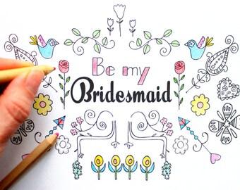 Will you be my Bridesmaid card, printable card, elegant bridesmaid card, Coloring in Card - Modern Card