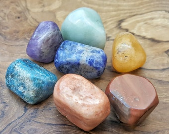 7 Chakra Crystal Tumbled Stone Set  - Perfect for Grids 000
