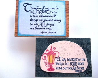 2 Scripture Plaques. You are the light of the world. Let your light shine out for all to see. Matthew 5:14, 16. In Christ 2 Corinthians 5.17
