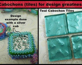 T-007 - Teal Glass Cabochons (4) - 22 x 22 mm - Perfect for bead embroidery, wire wrapping and scrapbooking