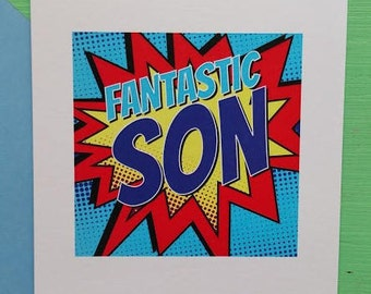 Frantastic Son Birthday Card. Super Hero Birthday Card. Comic Book Birthday Card. Cards for Boys. Cards for Sons. Cards for Him