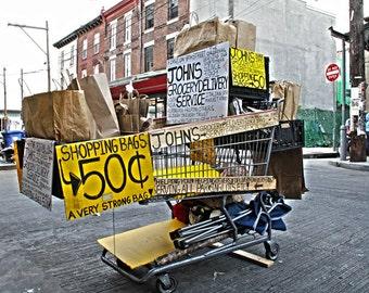 Shopping Cart at the Italian Market, South Philadelphia View, Photo Print