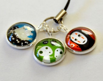 Totoro & Studio Ghibli Characters - Keychains / Cellphone Charm - anime - kodoma, jiji, noface, calcifer, princess mononoke, spirited away