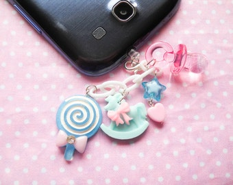 Baby Kei / Kawaii Phone Charm / Dust Plug, Lollipop, Cute, iPod, iPhone, Android, Cell Phone, Phone, Clip Charm