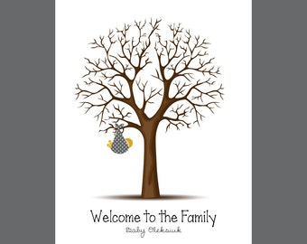 Thumbprint Guestbook, Thumbprint Tree Guestbook, Baby Shower Gift Print, Baby Shower Guestbook, Baby Shower Guestbook Alternative