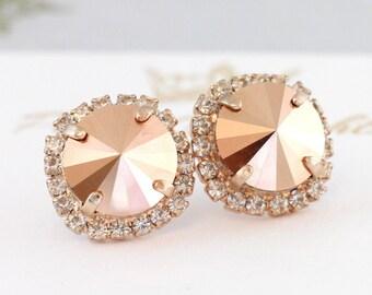 Rose Gold Earrings,Rose Gold Swarovski Earrings,Rose Gold Big Studs,Gift For Her,Christmas Gift,Bridal Rose Gold Earrings,Bridesmaids Studs