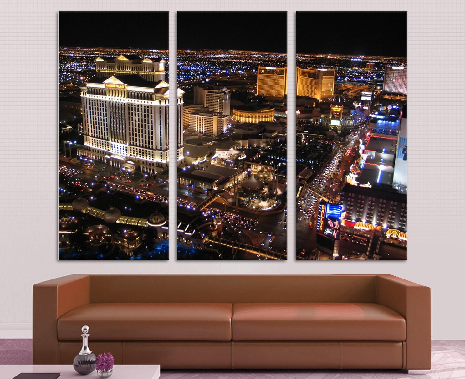 Las Vegas de noche 3 impresión de lona Split Panel