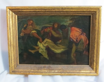 Antique oil painting of Christ small copy of Titan's The Entombment