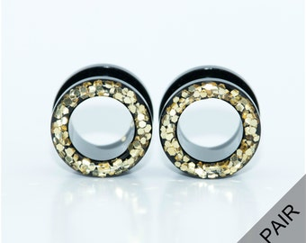 Gold sparkle tunnel plugs / 6g, 4g, 2g, 0g, 00g, 1/2, 9/16, 5/8  / sparkle plugs / tunnel gauges / screw on / glitter plugs / gold gauges