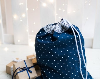 Navy blue gift bag - Reusable linen bag -  Drawstring bag - Fabric bread keeper - Polka dot bag for christmas gifts - Linen bread bag