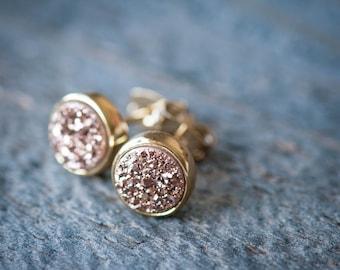 Rose Gold Earrings,Rose Gold Druzy Earrings, Druzy Studs, Bridesmaid Jewelry, Rose Gold Jewelry, Rose Gold Stud Earrings,Druzy Stud Earrings