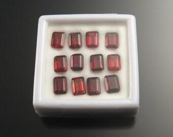 Faceted Garnet rectangles, 5x7 mm