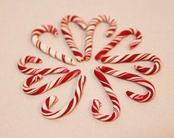 10 Miniature Candy Canes, Miniature Foods, Dollhouse Miniatures, Handmade Candy Canes, Fairy Garden Miniautres