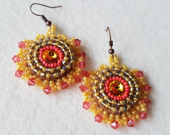 Beaded embroidered rivoli swarovski earrings orange yellow.