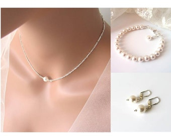 Single Pearl Necklace Silver, Single Pearl Choker, Maid of Honor Gift, Floating Pearl Necklace Bracelet & Earrings, Jewelry for Bridesmaids