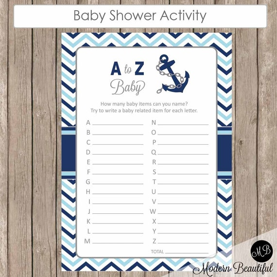 Blue And Navy Nautical A Z Baby Shower Game Nautical Baby
