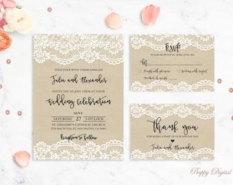Rustic Wedding Invitation Printable Lace Wedding Invitations Kraft Wedding Invite Burlap Wedding Vintage Wedding Suite Shabby Chic Wedding