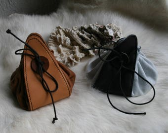 handcrafted leather purse, handmade