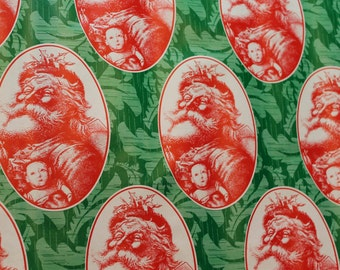 1980s Red and Green Santa Claus with Toys Vintage Wrapping Paper - 1 Yd