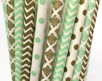 2.85 US Shipping -Mint green and gold paper straws -  paper straws - Cake Pop Sticks - Drinking Straws