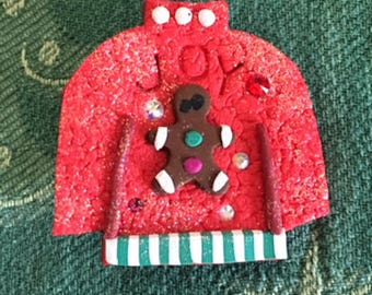 Ugly Sweater Polymer Clay Pin
