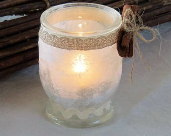Shabby Chic glass candle holder, glass jar, Christmas decoration