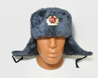 Russian Army  winter Soldier's hat / Soviet military winter hat Ushanka / Soviet Soldier's hat earflaps