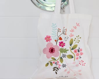 Floral Tote Bag, Fabric Bag with Flower Print, Bag with Handles, Floral (OHSO970)