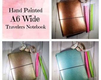 A6 Wide HAND PAINTED Leather Travelers Notebooks.