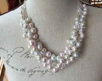 Chunky pearl necklace in Ivory white and blush pearls - bridesmaid jewelry