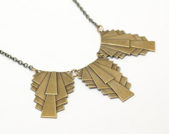 Art deco necklace 1930s vintage style brass or silver architectural statement retro jewelry