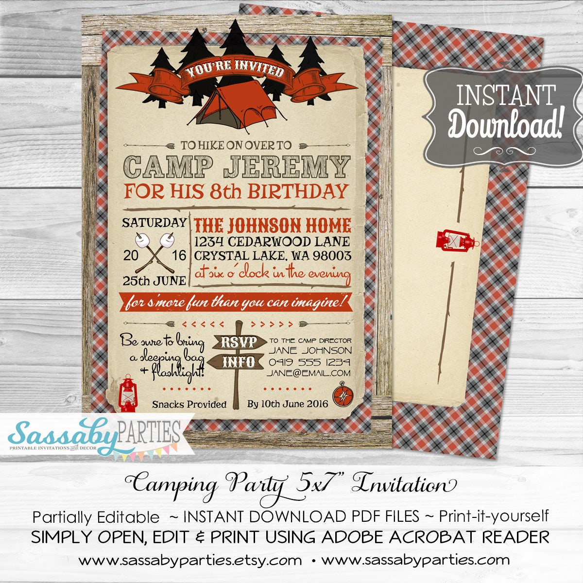 Camping Party Invitation / INSTANT DOWNLOAD / Partially