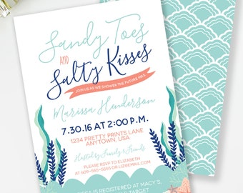 Beach Bridal Shower Invitation, Beach Bachelorette Party, Sandy Toes and Salty Kisses, Nautical Bridal Invite, Seashell Invitations, #16