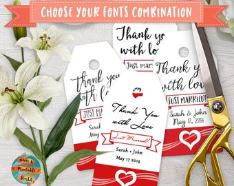 Thank You Tag, red heart, customizable, wedding, printable, digital file