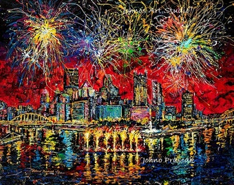 Fireworks art, Regatta, Three Rivers Regatta art, Pittsburgh Skyline art, by Johno Prascak, Johnos Art Studio