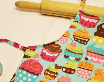 Sweet Cupcakes Child Apron - teal