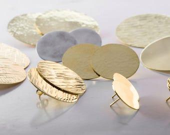 Big brass hoops, Brass earrings, Discs earrings of brass, Stripped textured hoops, Full moon earrings, 100% handmade jewelry, MARTA