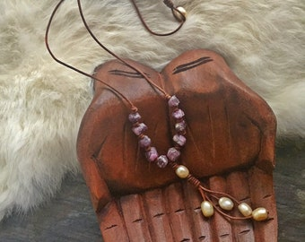 Raw Ruby Necklace on Waxed Leather Necklace with Pearl Tassel / Pearl and Ruby Necklace / Leather and Gemstone Necklace