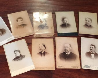 Lot of 9 Pennsylvania Antique cabinet card photographs
