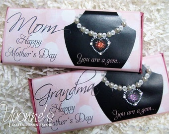 Mother's Day Candy Bar Wrappers/Assembled Chocolate Bars-Birthstone Necklace Jewelry Design-Gift for Mom,Grandmother,Aunt,Daughter, Sister