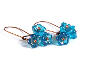 Handmade teal blue Czech bell flower floral dangle earrings (687)