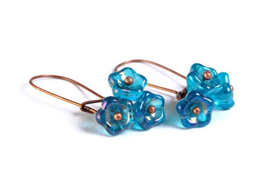 Handmade teal blue Czech bell flower floral dangle earrings (687)
