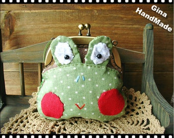 Frog Prince Coin purse   /// Coin Wallet clutch / Pouch coin bag / Kiss lock frame purse bag-GinaHandMade