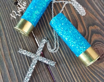 Glitter 12 Gauge Shotgun Shell Rear View Mirror Hanger/Charm, Bling, Rhinestone Cross, mirror charm, rustic, dangle, truck, car accesories