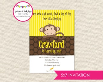 Monkey Birthday, Monkey Birthday Invitation, Monkey Banana Invitation, Monkey Printables, Monkey Birthday Decorations, Lauren Haddox Designs