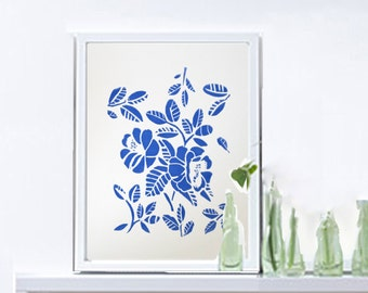 """Original Linocut Print Shabby Roses, Blue Flowers Art,A4, 8""""X10""""  small Wall Poster, Limited edition art, shabby chic decor  -"""