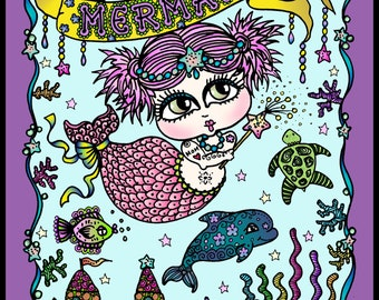 Baby Mermaids Digital Coloring Book for all mermaid lovers, digi, instant download, sea life, fun coloring, coloring pages